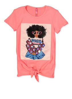 Little Girls Boss Graphic Patch Top - 1634066590449