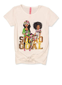 Little Girls Squad Goal Tie Front Patch Top - 1634066590576