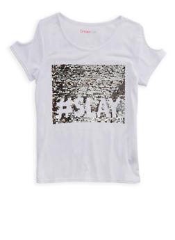 Girls 4-6x Reversible Sequin Cold Shoulder Top - 1634073990005