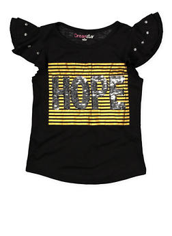 Girls 4-6x Reversible Sequin Graphic Tee with Rhinestone Sleeves - 1634073990009