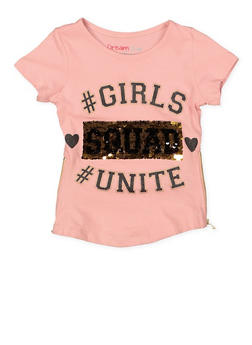 Girls 4-6x Reversible Sequin Zip Side Tee - 1634073990012