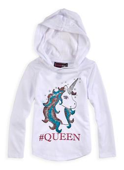 Girls 4-6x Reversible Sequin Queen Unicorn Top - 1634073990030