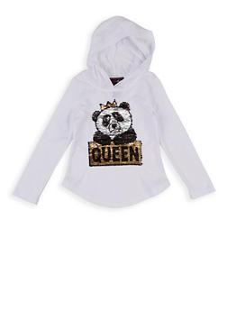 Girls 4-6x Queen Panda Reversible Sequin Hooded Top - 1634073990031