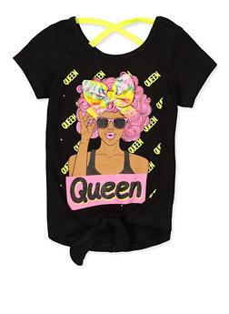 Girls 4-6x Queen 3D Bow Tee - 1634073990067
