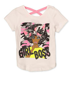 Girls 4-6x 3D Bow Girl Boss Tee - 1634073990071