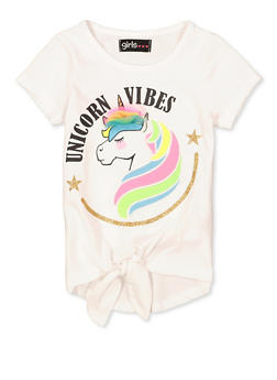 Girls 4-6x Unicorn Vibes 3D Bow Tee - 1634073990080