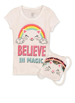 Girls 7-16 Animal Graphic Tee with Drawstring Backpack - 1635023130006
