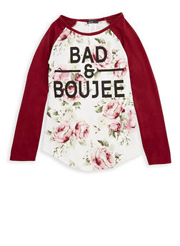 Girls 7-16 Floral Bad and Boujee Graphic Top - 1635029890033