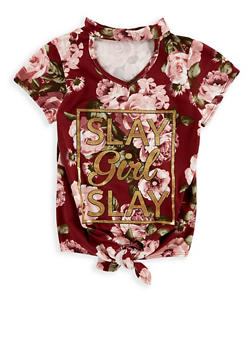 Girls 7-16 Foil Graphic Tie Front Top - 1635029890099