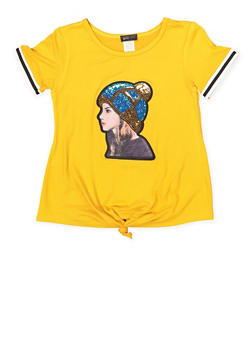 Girls 7-16 Sequin Patch Graphic Tee - 1635029890132