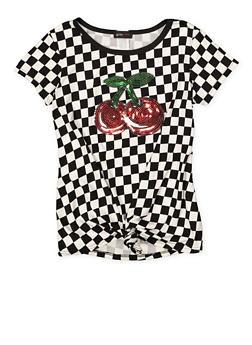 Girls 7-16 Sequin Cherry Checkered Tee - 1635029890145