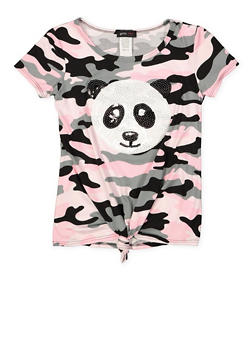 Girls 7-16 Sequin Panda Camo Tee - 1635029890147
