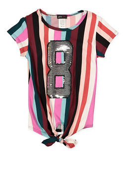 Girls 7-16 Sequin 8 Striped Tee - 1635029890152