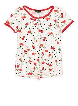 Girls 7-16 Cherry Print Half Zip Top - 1635029890153