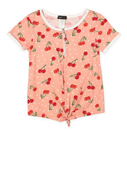Girls 7-16 Cherry Print Half Zip Top - 1635029890153
