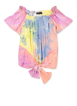 Girls 7-16 Ribbed Tie Dye Off the Shoulder Top - 1635029890167