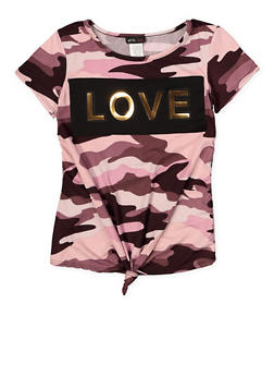 Girls 7-16 Love 3D Foil Graphic Tee - PINK - 1635029890180