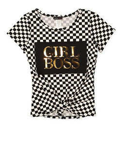 Girls 7-16 Girl Boss 3D Foil Graphic Tee - 1635029890184