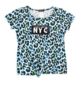 Girls 7-16 NYC LA Flip Sequin Leopard Tee - 1635029890354