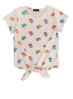 Girls 7-16 Ivory Foil Unicorn Print Tie Front Top - 1635029890403