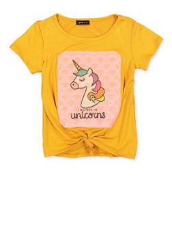 Girls 7-16 I Believe in Unicorns Patch Graphic Tee - 1635029890405