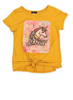 Girls 7-16 Unicorn Magic Tie Front Tee - 1635029890407