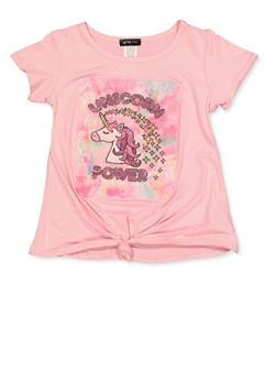 Girls 7-16 Unicorn Power Glitter Tee - 1635029890409