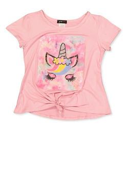 Girls 7-16 Unicorn Graphic Patch Tee - 1635029890410