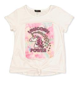 Girls 7-16 Unicorn Power Tie Front Tee - 1635029890411