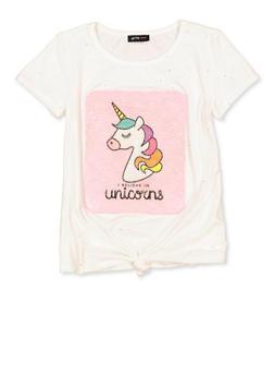 Girls 7-16 I Believe in Unicorns Glitter Tee - 1635029890413