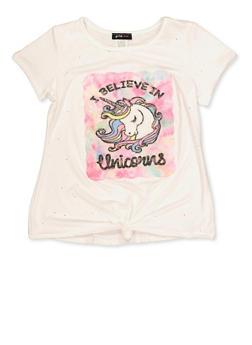 Girls 7-16 I Believe in Unicorns Patch Tee - 1635029890414
