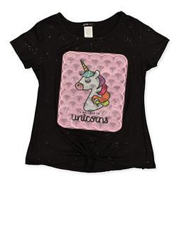Girls 7-16 I Believe in Unicorns Tie Front Tee - 1635029890415