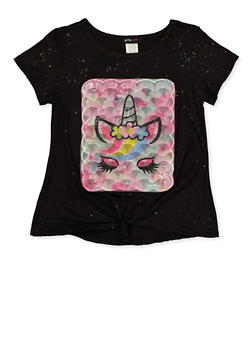 Girls 7-16 Embroidered Unicorn Patch Tee - 1635029890416