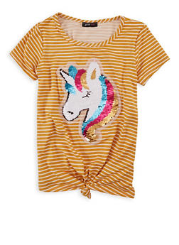 Girls 7-16 Striped Reversible Sequin Unicorn Tee - 1635029890419