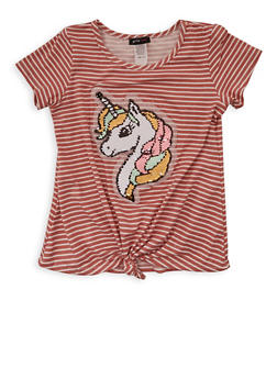 Girls 7-16 Unicorn Reversible Sequin Striped Tee - 1635029890420