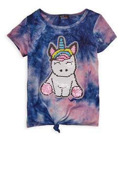 Girls 7-16 Reversible Sequin Unicorn Tie Dye Top - 1635029890422
