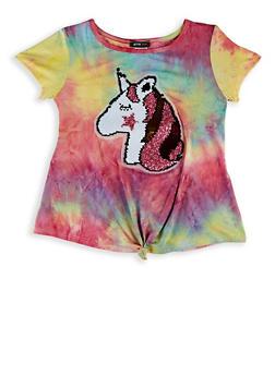 Girls 7-16 Unicorn Reversible Sequin Tie Dye Tee - 1635029890427