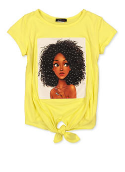 Girls 7-16 Face Patch Tie Front Tee - 1635029890441