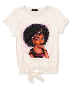 Girls 7-16 Faux Pearl Studded Afro Girl Patch Tee - 1635029890442