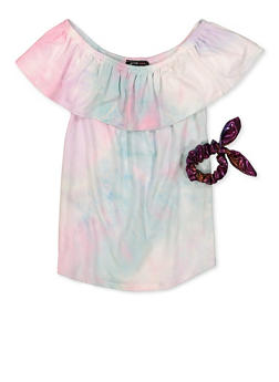 Girls 7-16 Tie Dye Soft Knit Off the Shoulder Top with Scrunchie - 1635029890460