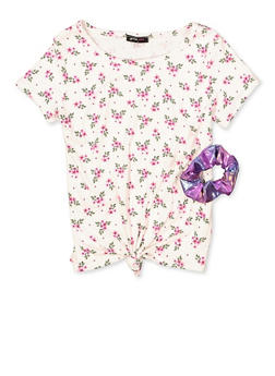 Girls 7-16 Floral Ribbed Top with Scrunchie - 1635029890469