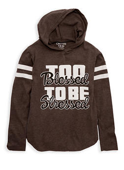 Girls 7-16 Too Blessed Graphic Hooded Top - 1635033870087