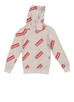 Girls 7-16 Queen Graphic Hooded Top - 1635033870100