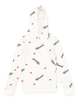 Girls 7-16 Blessed Graphic Hooded Top - 1635033870103