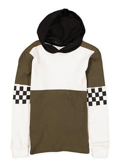 Girls 7-16 Checkered Sleeve Hooded Top - 1635033870108