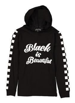Girls 7-16 Black is Beautiful Hooded Top - 1635033870120