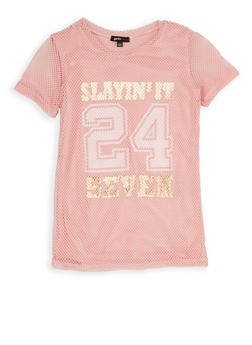 Girls 7-16 Foil Graphic Fishnet Tee - 1635038340022
