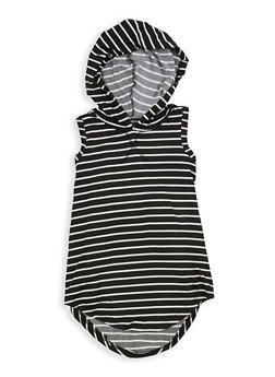 Girls 7-16 Striped Sleeveless Hooded Top - 1635038340024