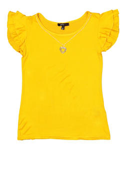 Girls 7-16 Tiered Sleeve Tee with Necklace - 1635038340078