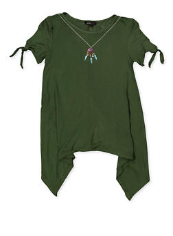 Girls 7-16 Asymmetrical Hem Tee with Necklace - 1635038340079